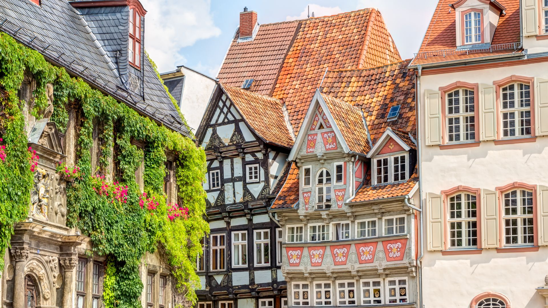 Timber framing houses Quedlinburg old town, Germany